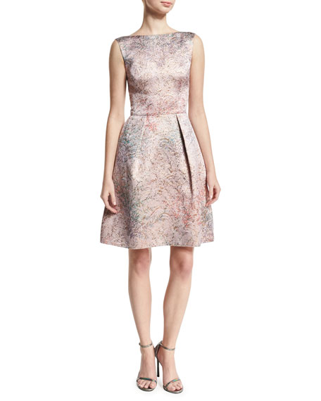 Monique Lhuillier Spring Blossom Jacquard Fit-&-Flare Dress,