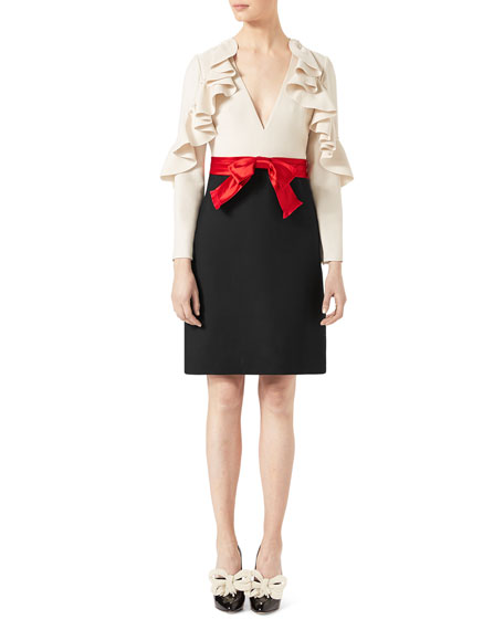 Gucci Silk-Wool Dress with Sculpted Sleeves, White/Black