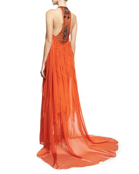 Beaded Halter Chiffon Fringe Gown, Orange