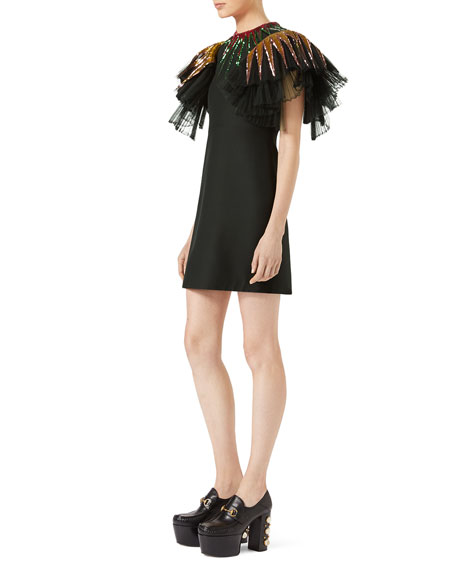 Gucci Sequin-Embroidered Tulle Dress, Black