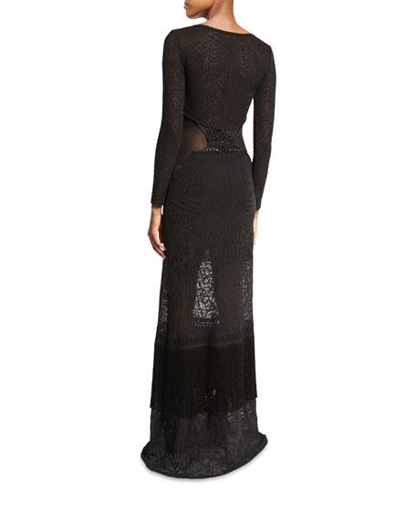 Long-Sleeve V-Neck Knit Gown, Black