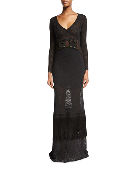 Long-Sleeve V-Neck Knit Gown, Black