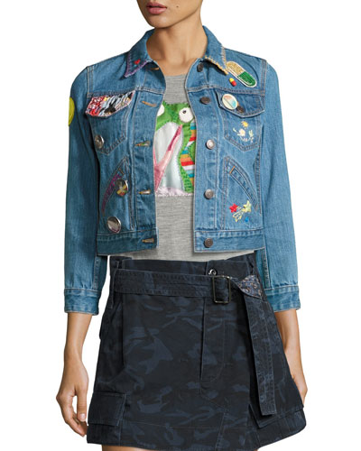 Shrunken Denim Jacket with Patches, Blue Price