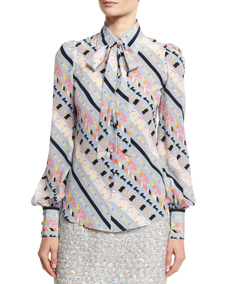 Printed Tie-Neck Bishop-Sleeve Blouse, Blue