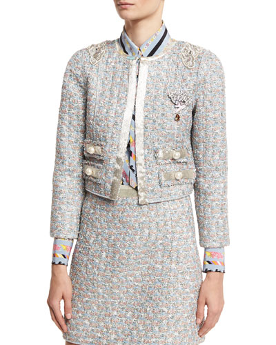 Embellished Tweed Jacket, White/Multi