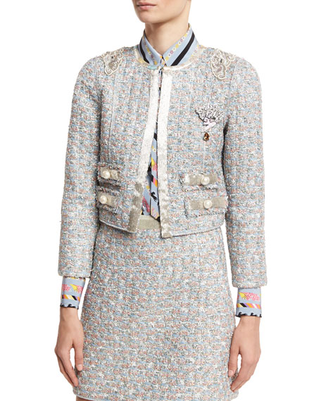 Marc Jacobs Embellished Tweed Jacket, White/Multi