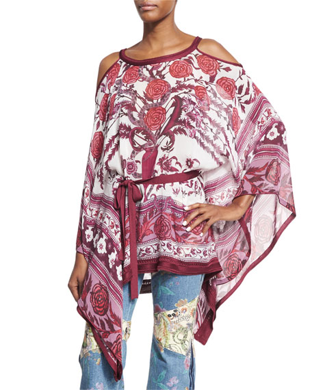 Roberto Cavalli Cold-Shoulder Tie-Waist Floral Caftan Top, Cherry