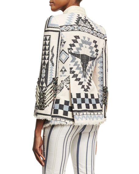 Blanket Embellished Jacket, White/Blue
