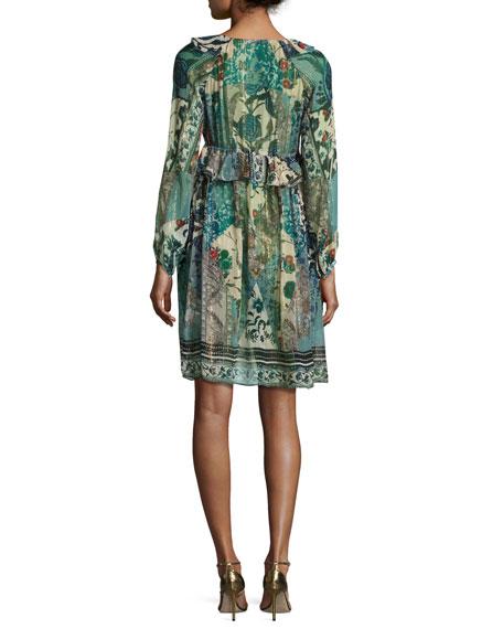 Floral Ruffled V-Neck Dress, Blue