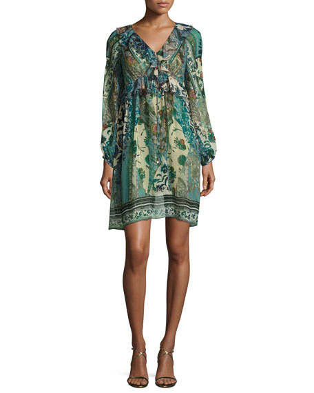 Roberto Cavalli Floral Ruffled V-Neck Dress, Blue