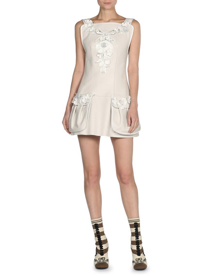 Fendi Floral-Embroidered Leather Mini Dress, White