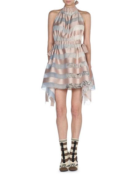 Striped Sleeveless Halter Dress, Multi