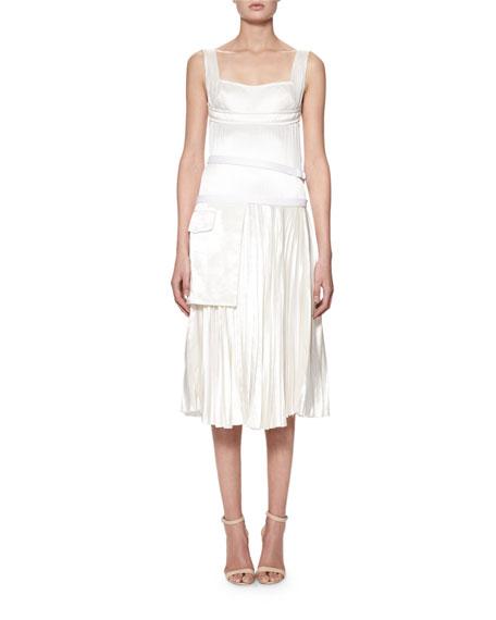 Sleeveless Bustier Plisse Midi Dress, Off White