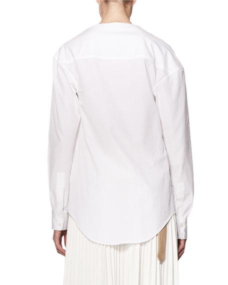Draped Asymmetric Cotton Blouse