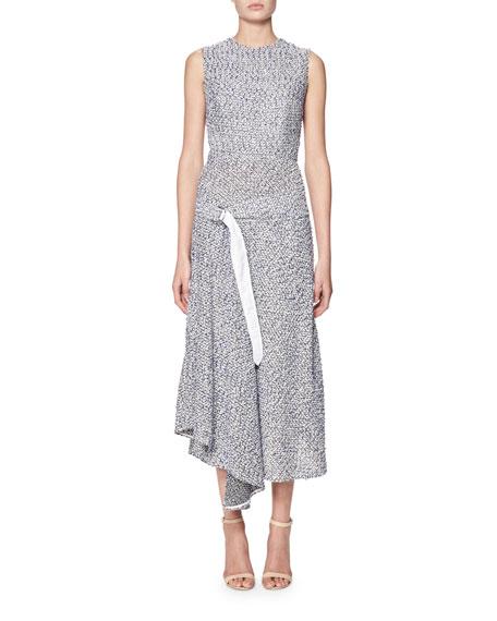 Sleeveless Belted Tweed Dress with Handkerchief Hem, Blue