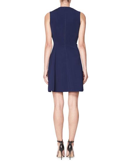 Sleeveless Flirty-Skirt Minidress with Asymmetric Hem