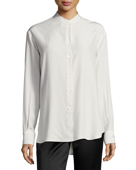 Victoria Beckham Striped Band-Collar Blouse