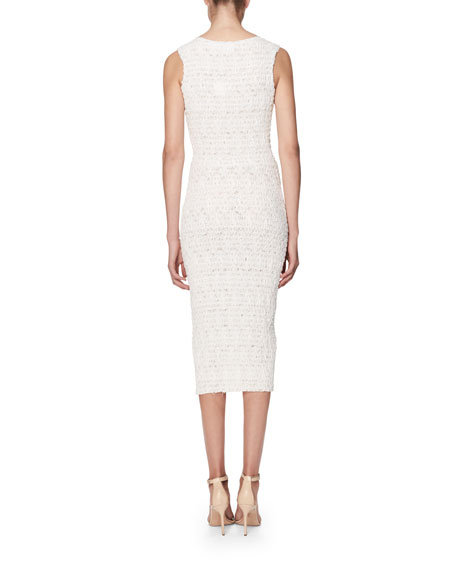 Scoop-Neck Smocked Sheath Dress, White