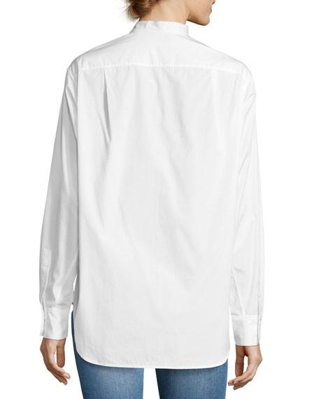 Granddad Band-Collar Shirt, White