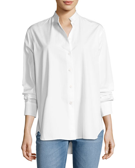 Victoria Beckham Granddad Band-Collar Shirt, White