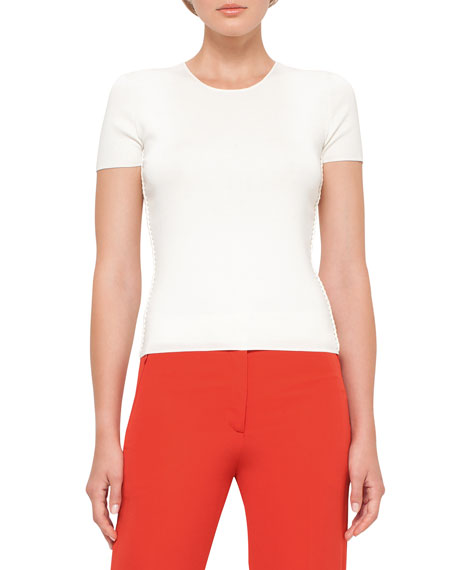 Akris Braided-Side Crewneck Tee, Moonstone