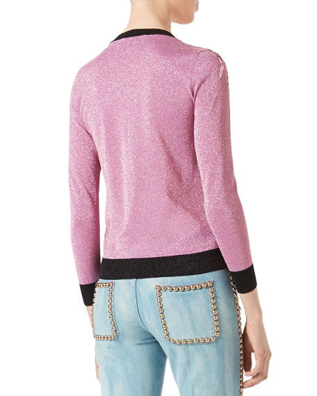 Embroidered Metallic Sweater, Light Pink