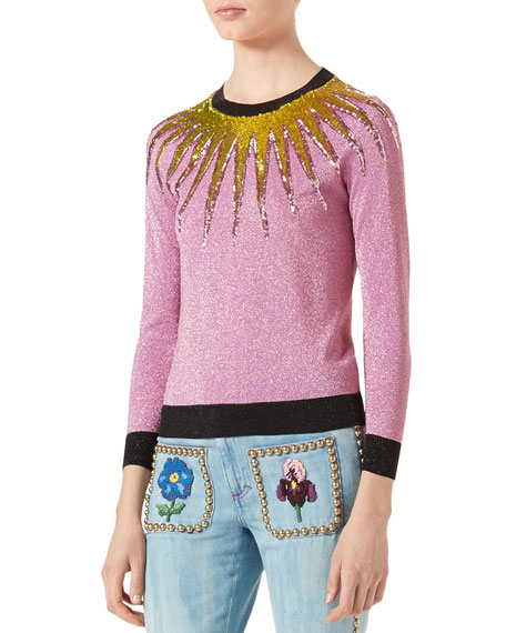 Gucci Embroidered Metallic Sweater, Light Pink and Matching