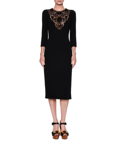 Macrame-Bib Cocktail Dress, Black