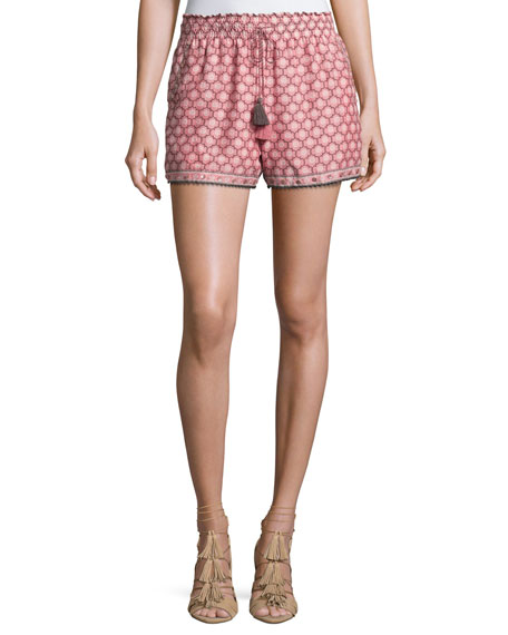 Trellis-Print Drawstring Shorts, Light Pink