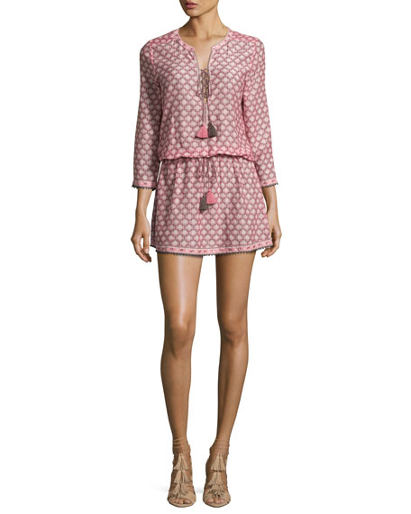 Trellis-Print 3/4-Sleeve Drawstring Dress, Light Pink