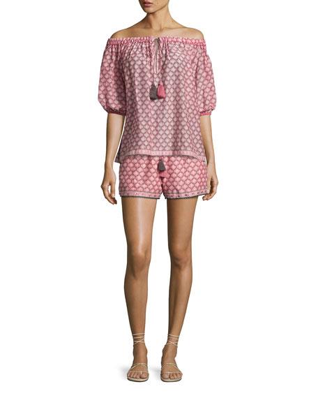 Trellis-Print Off-the-Shoulder Blouse, Light Pink