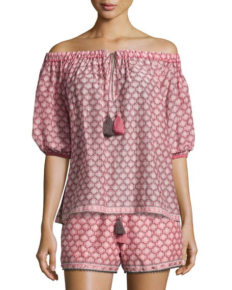 Talitha Collection Trellis-Print Off-the-Shoulder Blouse, Light Pink