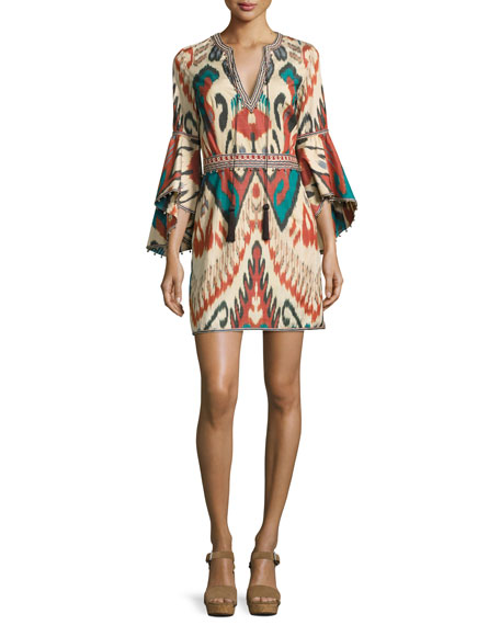 Talitha Collection Ikat Bell-Sleeve Minidress, Green/Multicolor