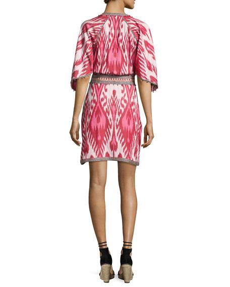 Ikat Handkerchief-Sleeve Dress, Pink
