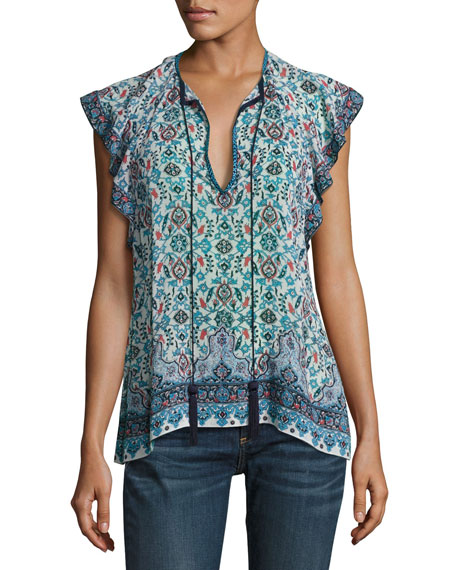 Maharaja-Print Frill Blouse, Light Blue