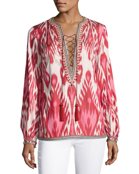 Talitha Collection Aisha Ikat Lace-Up Tunic, Pink