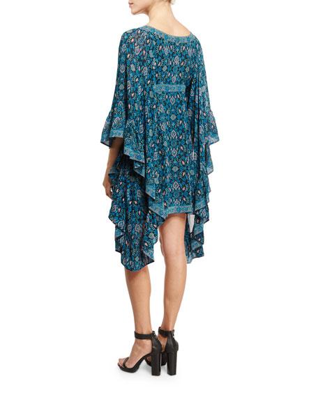 Maharaja-Print Waterfall Dress, Dark Blue