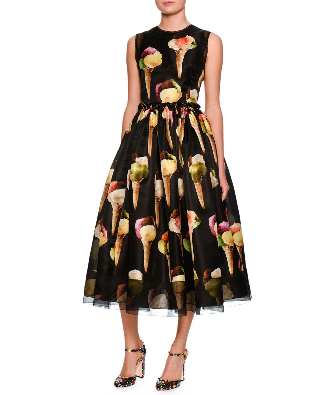 Dolce Amp Gabbana Gelato Print Sleeveless Midi Dress Black