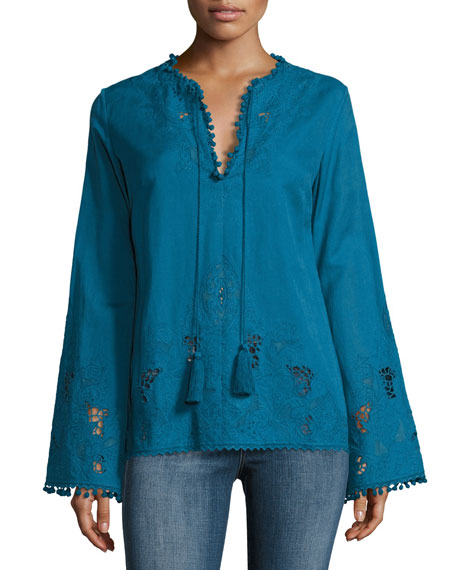 Talitha Collection Sana Embroidered Pompom Tunic, Blue