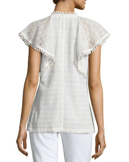 Lace Cap-Sleeve Frill Top, White