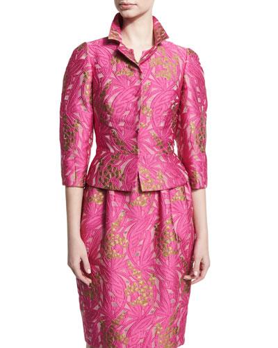 Jacquard 3/4-Sleeve Jacket, Pink