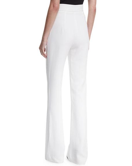 High-Waist Snap-Detail Wide-Leg Pants, White