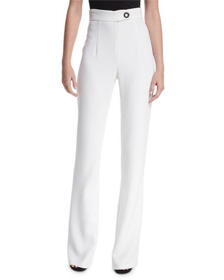 Cushnie Et Ochs High-Waist Snap-Detail Wide-Leg Pants, White