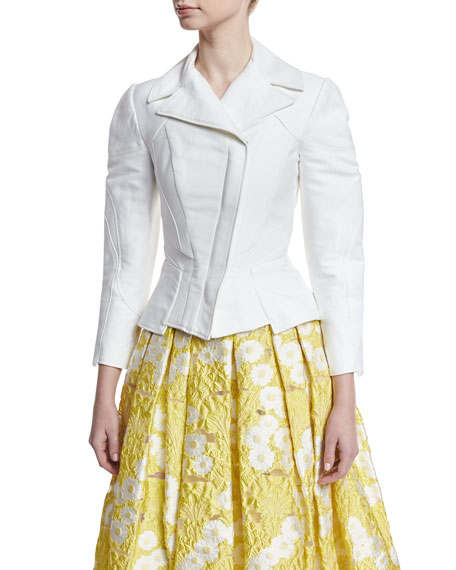 3/4-Sleeve Stretch-Cotton Moto Jacket, White