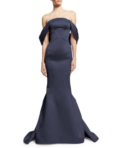 Draped-Shoulder Mermaid Gown, Navy