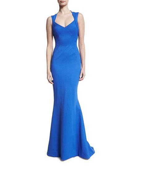 Zac Posen Ottoman Jersey Fishtail Gown, Blue