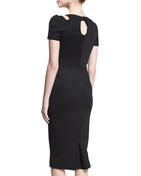 Cutout-Neck Short-Sleeve Dress, Black