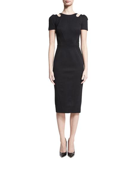 Zac Posen Cutout-Neck Short-Sleeve Dress, Black