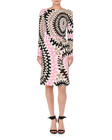 Marilyn Printed Long-Sleeve Boat-Neck Dress, Multi