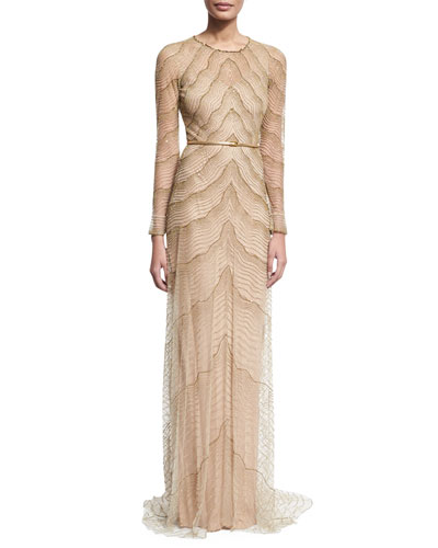 Beaded Illusion Long-Sleeve Gown, White/Gold